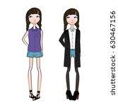 fashion cartoon teenage girls... | Shutterstock .eps vector #630467156
