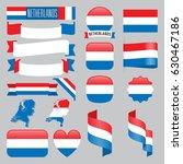 set of netherlands maps  flags  ... | Shutterstock .eps vector #630467186
