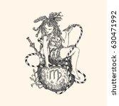 vintage sign of zodiac. virgo.... | Shutterstock .eps vector #630471992