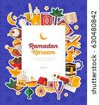 ramadan kareem banner with flat ... | Shutterstock .eps vector #630480842