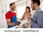 young smiling couple and... | Shutterstock . vector #630490616