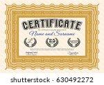 orange certificate of... | Shutterstock .eps vector #630492272