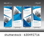 blue and white roll up banner... | Shutterstock .eps vector #630492716
