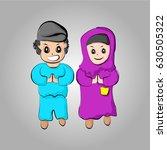 child muslim cartoon character | Shutterstock .eps vector #630505322