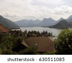 annecy lake seen from behind... | Shutterstock . vector #630511085