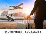 flying young man with traveling ... | Shutterstock . vector #630516365