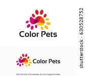 Stock vector color paws logo color pets logo designs template 630528752