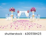 romantic wedding ceremony on... | Shutterstock . vector #630558425