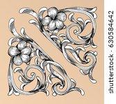 hand draw vintage baroque frame ...   Shutterstock .eps vector #630584642