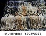 pearls necklace in shop | Shutterstock . vector #630590396