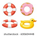 Colorful Swim Rings Icon Set...