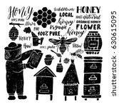hand drawn set. beehive.... | Shutterstock .eps vector #630615095