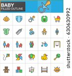 baby filled outline icons set ... | Shutterstock .eps vector #630630992