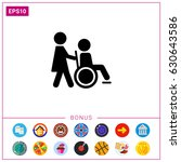 disabled person with nurse | Shutterstock .eps vector #630643586