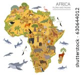 flat africa flora and fauna map ... | Shutterstock .eps vector #630644012