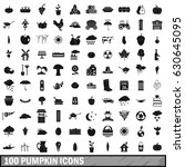 100 pumpkin icons set in simple ... | Shutterstock .eps vector #630645095