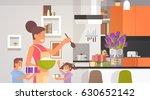 happy smiling mom with children ...   Shutterstock .eps vector #630652142