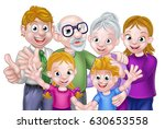 cartoon happy three generation... | Shutterstock .eps vector #630653558
