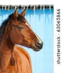 Bay Horse Against Blue Barn On...