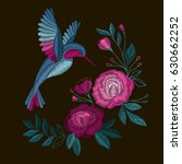peonies and bird. embroidery... | Shutterstock .eps vector #630662252