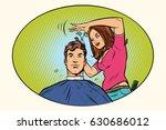 mens haircut female hairdresser   Shutterstock .eps vector #630686012