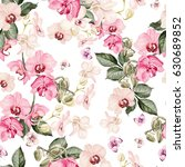 Stock photo beautiful watercolor pattern with orchid flowers illustration 630689852