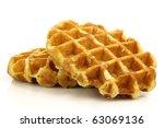 freshly baked waffles on a white background - stock photo