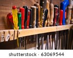 Row Of Old Screwdrivers In A...