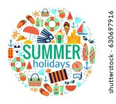 beach summer vacation concept.... | Shutterstock .eps vector #630697916