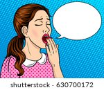 yawning bored girl pop art... | Shutterstock . vector #630700172