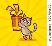 cute cartoon cat gives gift... | Shutterstock .eps vector #630704672
