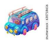 cartoon vintage watercolor blue ... | Shutterstock . vector #630718616