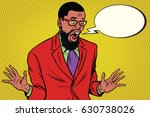 shocked hipster bearded african ... | Shutterstock .eps vector #630738026