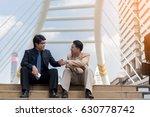 asian businessmen sitting on... | Shutterstock . vector #630778742