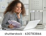 nice business woman sitting ... | Shutterstock . vector #630783866