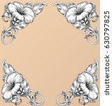 hand draw vintage baroque frame ... | Shutterstock .eps vector #630797825