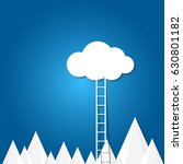 ladder to the clouds on blue... | Shutterstock .eps vector #630801182