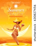 summer party invitation flyer... | Shutterstock .eps vector #630827456