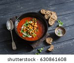tomato soup with spicy fried... | Shutterstock . vector #630861608