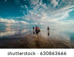 friends discovering the flooded ...   Shutterstock . vector #630863666