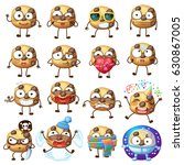 cartoon funny choc chip cookie... | Shutterstock .eps vector #630867005
