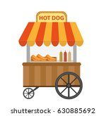 hot dog  street shop  cart.... | Shutterstock .eps vector #630885692