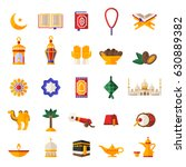set of ramadan kareem icons... | Shutterstock .eps vector #630889382