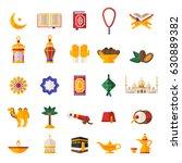 set of ramadan kareem icons... | Shutterstock .eps vector #630889382