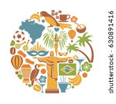 brazil travel sightseeing icons ... | Shutterstock .eps vector #630891416