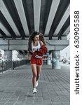 enjoying her run. full length... | Shutterstock . vector #630905588
