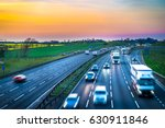 colourful sunset at m1 motorway ... | Shutterstock . vector #630911846