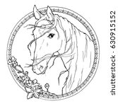coloring page with horse ... | Shutterstock .eps vector #630915152