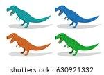 set of t rex dinosaur  in flat...   Shutterstock .eps vector #630921332