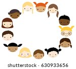 oval frame with cute kids faces ... | Shutterstock .eps vector #630933656